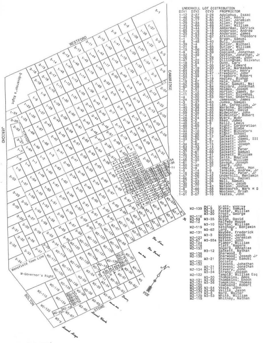 ORIGINAL LOTS OF UNDERHILL and part of MANSFIELD, VT c. 1786